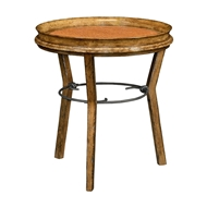 Jonathan Charles Home Round Light Brown Chestnut & Rattan Side Table 491189