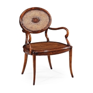 Jonathan Charles Home French Caned Chair with Oval Back (Arm) 492840-AC