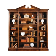 Jonathan Charles Home Triple Breakfront Walnut Open Bookcase with Pediment 493083