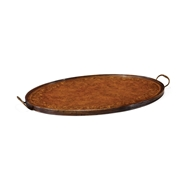 Jonathan Charles Home Oval Burl Walnut Tray with Floral Inlay 493276-BMS
