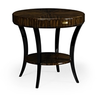 Jonathan Charles Home Round Art Deco Macassar Ebony High Lustre Side Table with Drawer 494000-AMH