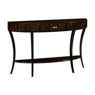 Jonathan Charles Home Large Demilune Art Deco Macassar Ebony High Lustre Console Table with Drawer 494087-AMH