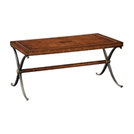Jonathan Charles Home Rustic Burl Oak Hammered Iron Rectangle Coffee Table 494203