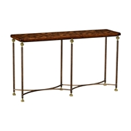 Jonathan Charles Home Argentinian Walnut Parquetry & Iron Console 494317
