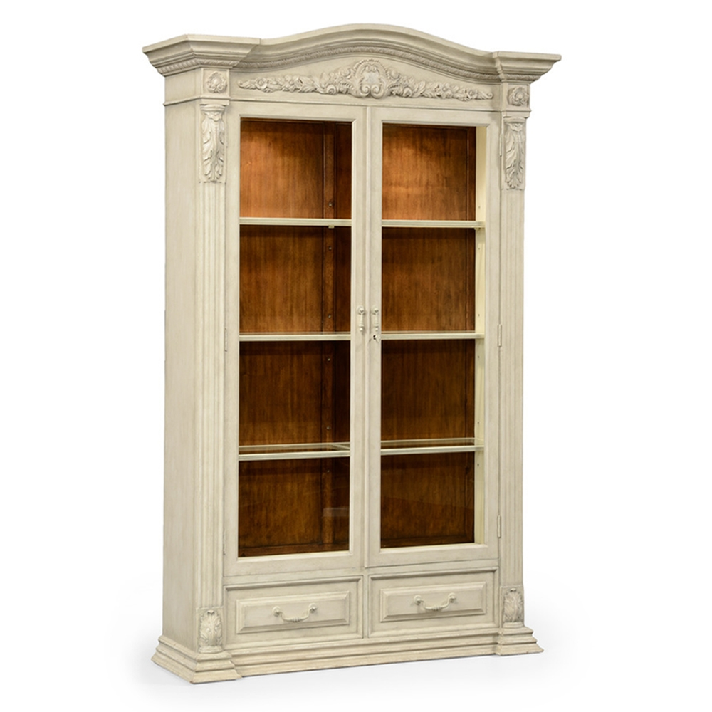 Jonathan Charles Home French Provincial Dusty White Glazed China Cabinet