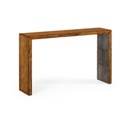 Jonathan Charles Home Argentinian Walnut & Anthracite Faux Shagreen Console 494401