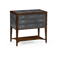 Jonathan Charles Home Faux Macassar Ebony & Anthracite Shagreen Chest of Three Drawer 494626-MAS