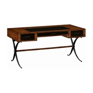 Jonathan Charles Home Hammered Iron Bureau Plat with Black Leather Inserts