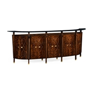 Jonathan Charles Home Mahogany Semi Circular Five Panel Registration Desk with Fine Inlays