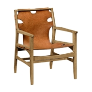Jonathan Charles Home Midcentury Style Slung Medium Antique Chestnut Leather & Light Oak Easy Chair 495096