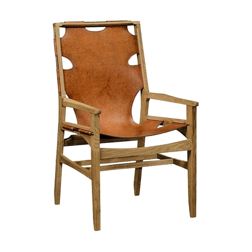 Jonathan Charles Home Midcentury Style Slung Medium Antique Chestnut Leather & Light Oak Armchair 495097-AC
