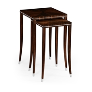 Jonathan Charles Home Macassar Ebony Nesting Tables with White Brass Detail 495160