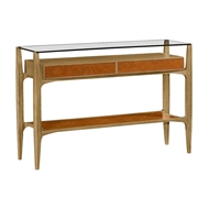Jonathan Charles Home Architects Console Table with Drawers Ang Glass Top 495430
