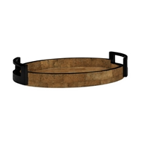 Jonathan Charles Home Small Elliptical Tray in Brown Brick Eggshell