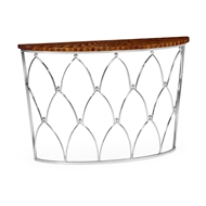 Jonathan Charles Home Feather Inlay Demilune Console Table 495497