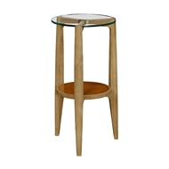 Jonathan Charles Home Architectural Round End Table with Glass Top 495498