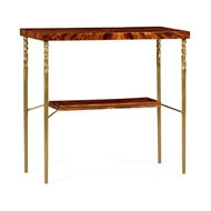 Jonathan Charles Home Console Table in Tropical Walnut Crotch with Brass Base 495673