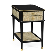 Jonathan Charles Home Black End Table with Eggshell & Bronze Detailing 495818