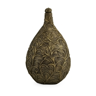 Jonathan Charles Home Small Antique Light Black Brass Vase with Swirl & Butterfly Carvings 495838-6D
