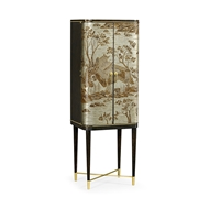 Jonathan Charles Home Chinoiserie Style Charcoal & Antique Etched Brass Drinks Cabinet 495893-CHW