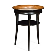 Jonathan Charles Home Round Charcoal & Walnut End Table with Antique Mirror Top 495913
