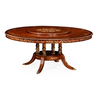"Jonathan Charles Home 70"" Burl & Mother of Pearl Round 70 3/4"" Dining Table 499010-70D"