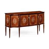 Jonathan Charles Home Burl And Mother of Pearl Inlaid Serpentine Sideboard 499189