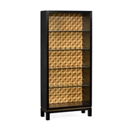 Jonathan Charles Home Black Bookcase with Interior Geometric Pattern 500014