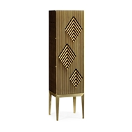 Jonathan Charles Home Op Art Diamond Bright Satinwood Left Drinks Cabinet 500166-LFT