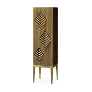Jonathan Charles Home Op Art Diamond Bright Satinwood Right Drinks Cabinet 500166-RGT