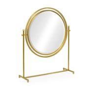 Jonathan Charles Wall Decor Round Antique Brass & Zebrano Dressing Table Mirror 500169