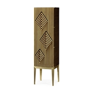 Jonathan Charles Home Op Art Diamond Bright Satinwood Right Storage Cabinet 500172-RGT
