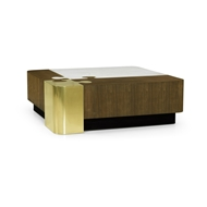 Jonathan Charles Home Square Autumn Walnut, Brass, & Marble Puzzle Coffee Table 500178