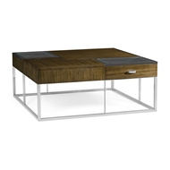 Jonathan Charles Home Square Autumn Walnut Coffee Table with Two Glass Top Drawers 500179