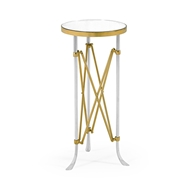 Jonathan Charles Home Small Round Satin Brass & Antique Glass Vanity Table 500180