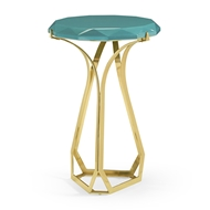 Jonathan Charles Home Round Jewel Style Brass & Daphne Blue Diamond Cut End Table 500181