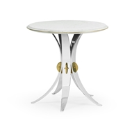 Jonathan Charles Home Round Stainless Steel End Table with White Calcutta Marble Top 500182