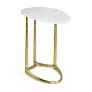 Jonathan Charles Home Satin Gold Brass Sofa Table with White Calcutta Marble Top 500185