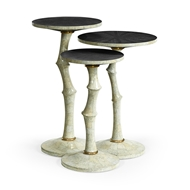 Jonathan Charles Home Set of Three Bamboo Style Bone Eggshell & Cerused Oak Nesting Tables 500187