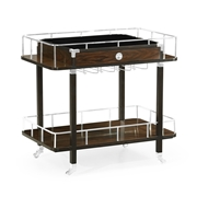 Jonathan Charles Home Rectangular Campaign Style Dark Santos Rosewood Rolling Bar Cart with Drawer 500188