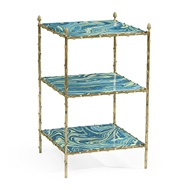 Jonathan Charles Home Square Graffiti & Brass Three-Tier End Table 500191