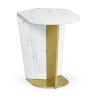 Jonathan Charles Home Medium White Calacatta Marble & Brass End Table 500194-MED