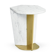Jonathan Charles Home Small White Calacatta Marble & Brass End Table 500194-SML