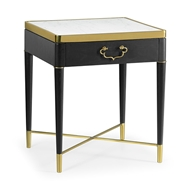 Jonathan Charles Home Square Ebonised Oak & White Calacatta Marble Lamp Table 500196