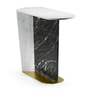 Jonathan Charles Home Comtemporary White Calacatta & Black Marble Sofa Table 500206