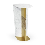 Jonathan Charles Home Contemporary White Calacatta Marble & Brass Sofa Table 500207