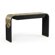 Jonathan Charles Home Curved Chinoiserie Style Antique Etched Brass & Ebonised Oak Console Table 500208