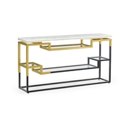Jonathan Charles Home Thin Rectangular Multi-Tier Antique Bronze & Brass Console Table 500211