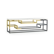 Jonathan Charles Home Low Rectangular Multi-Tier Antique Bronze & Brass Console Table 500212