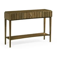 Jonathan Charles Home Bowed Autumn Walnut Reeded Console Table 500214